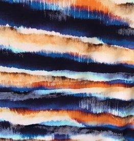 Viscosetricot Aquarell strepen oranje blauw