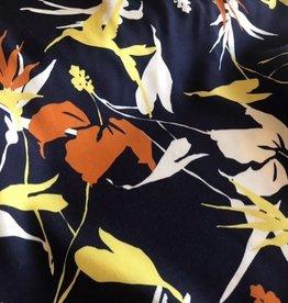 Coupon 0.90x1.50m Viscose donkerblauw abstracte vogels & bloemen
