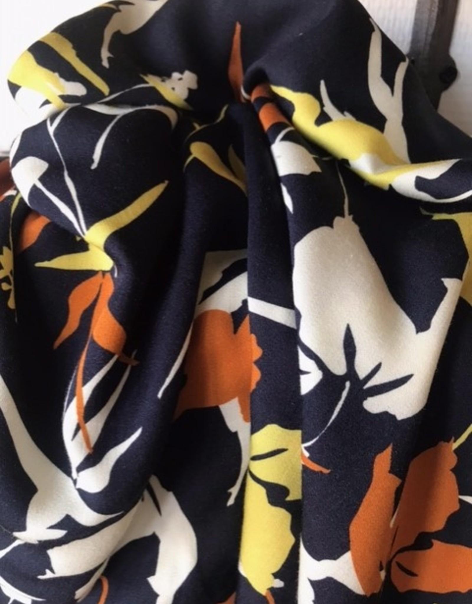 Viscose donkerblauw abstracte vogels & bloemen