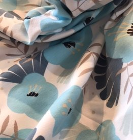 Coupon 65 x 150 Organic tricot pastel blauw gebloemd