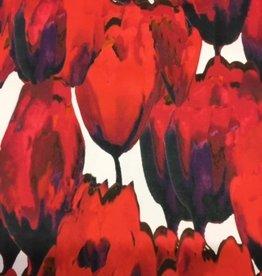 Stretchkatoen satin touch intens rode tulpen
