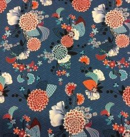 Viscosejersey Japanse bloemenprint