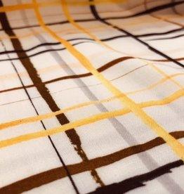 A La Ville Haute Couture Viscose offwhite lijnen-ruitenpatroon geel