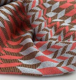A La Ville Haute Couture Gebreide jacquard geometrisch patroon koraal/lichtblauw/brons glitter