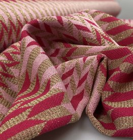 A La Ville Haute Couture Gebreide jacquard geometrisch patroon fuchsia/lichtroze/goud glitter