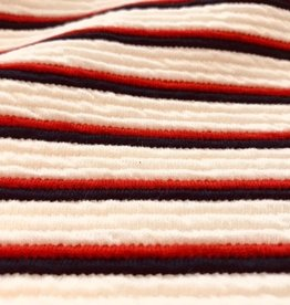 A La Ville Haute Couture Structuur jacquard horizontaal gestreept navy/rood
