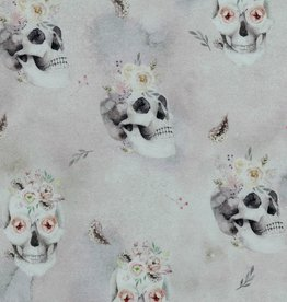Poppy Digital french terry GOTS lila skulls and flowers