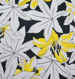 Hilco Coupon Stretchkatoen Lilla Lilly zwart/wit met gele bloemen 40x140cm