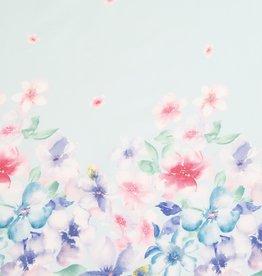 Hilco Coupon 70x140 Popline bloemenboord Blumenwirbel