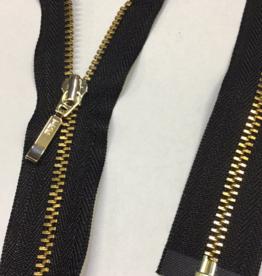 Fijne deelbare rits zwart met metallic goud 80cm -op maat in te korten-