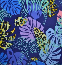 Lycra Leopard print, leafs & animals blauw