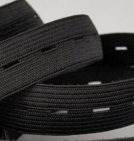 Knoopsgatenelastiek zwart 18mm