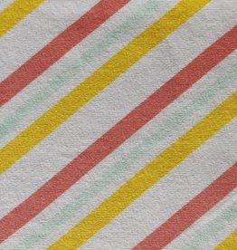 Katoenjersey Sorbet diagonaal gestreept