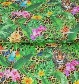 Stenzo Digital tricot tropical print met leoparddessin