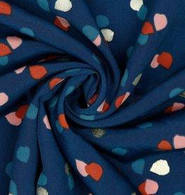Poppy Pearl Peach gevlekt gold foil petrol blauw