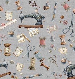 Poppy Digitale canvas Sewing Kit lichtgrijs