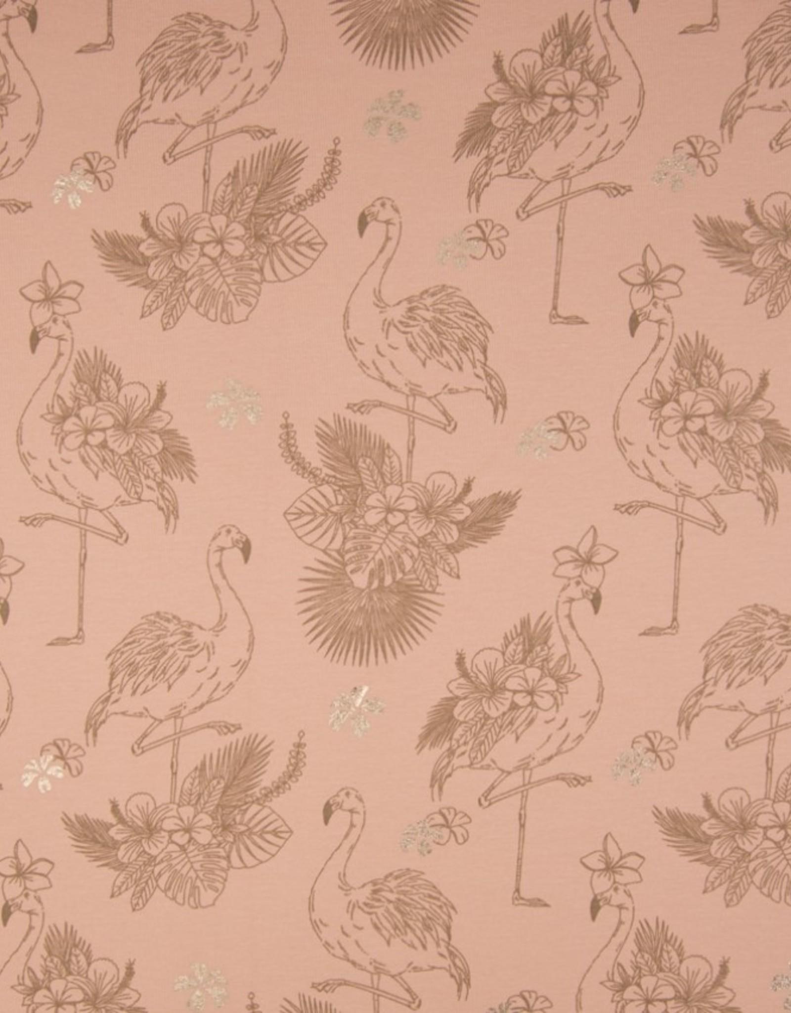 Tricot Flamingo oudrose met roségold folie bloemen
