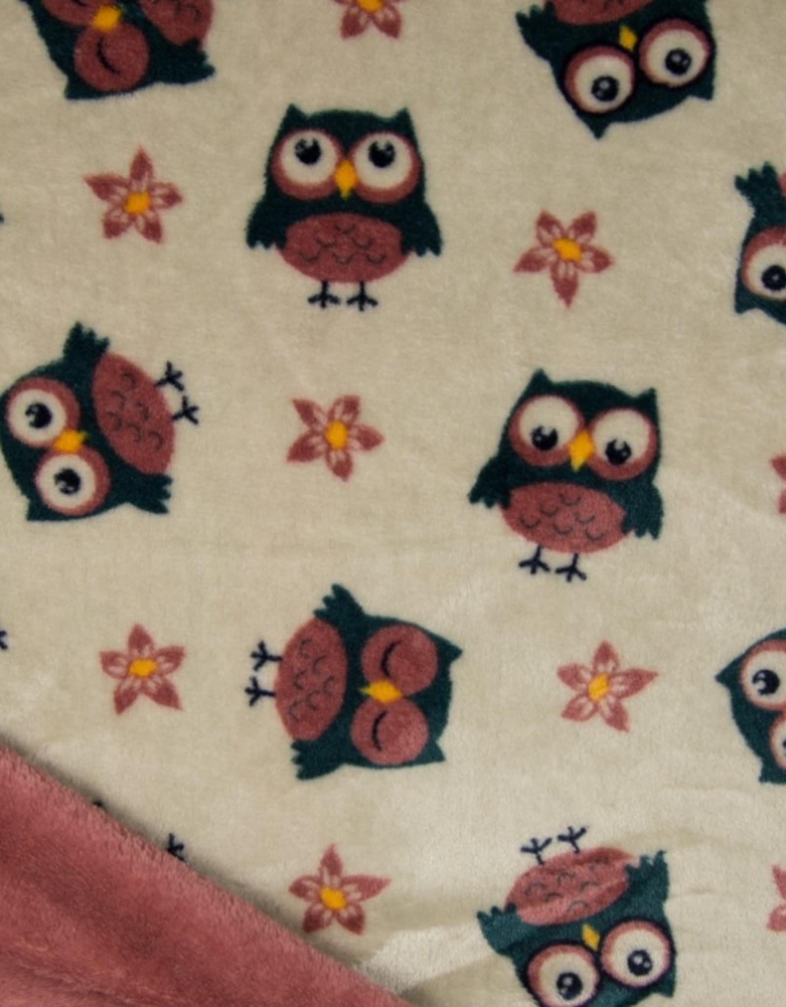 Double Face Cuddle Fleece Uiltjes ecru/rose