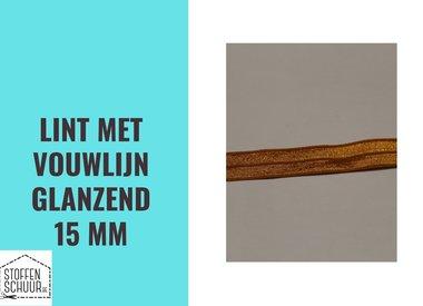Biais elastisch lint met vouwlijn GLANZEND 15 mm