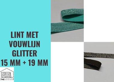 Biais elastisch lint met vouwlijn GLITTER 15 mm en 19 mm
