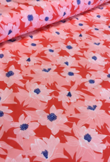 swafing Tropical Forest Tricot rood gebloemd