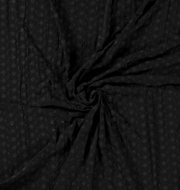 Viscose tricot broderie zwart