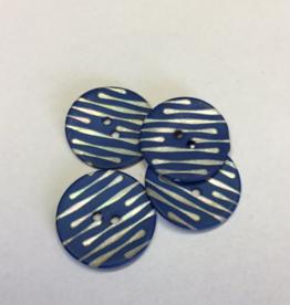 Knoop blauw met parelmoer strepen grootte 36