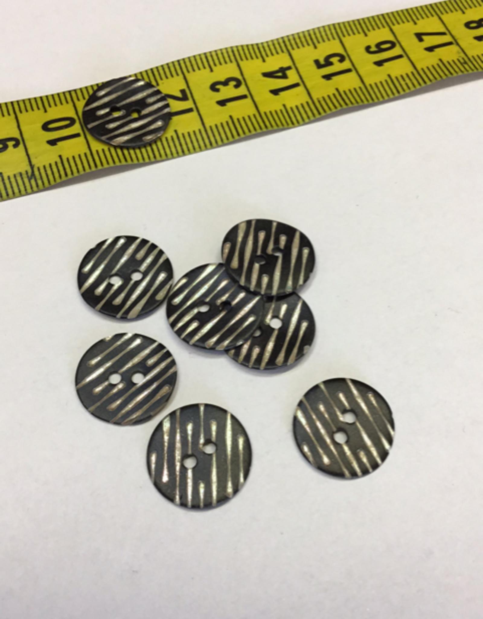 Knoop zwart met parelmoer strepen grootte 24