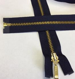 Fijne deelbare rits marine met metallic goud 80cm -op maat in te korten-