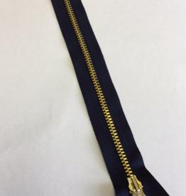 Fijne rits marine met metallic goud 20cm