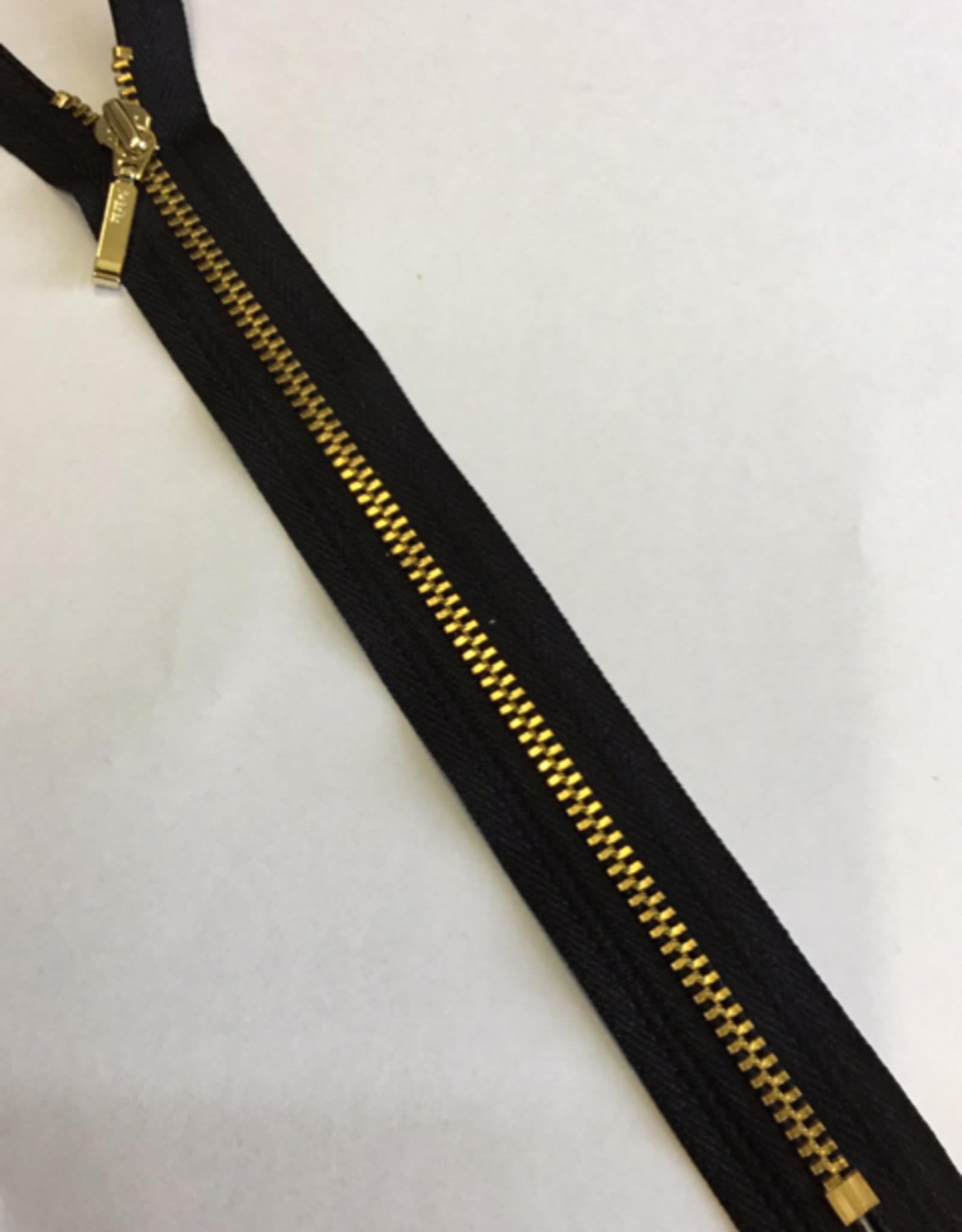 Fijne rits zwart met metallic goud 20cm