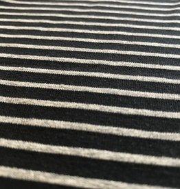 Katoentricot zwart met grijze strepen