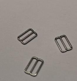 Bikini/bh-versteller schuiver 15mm zilver metaal