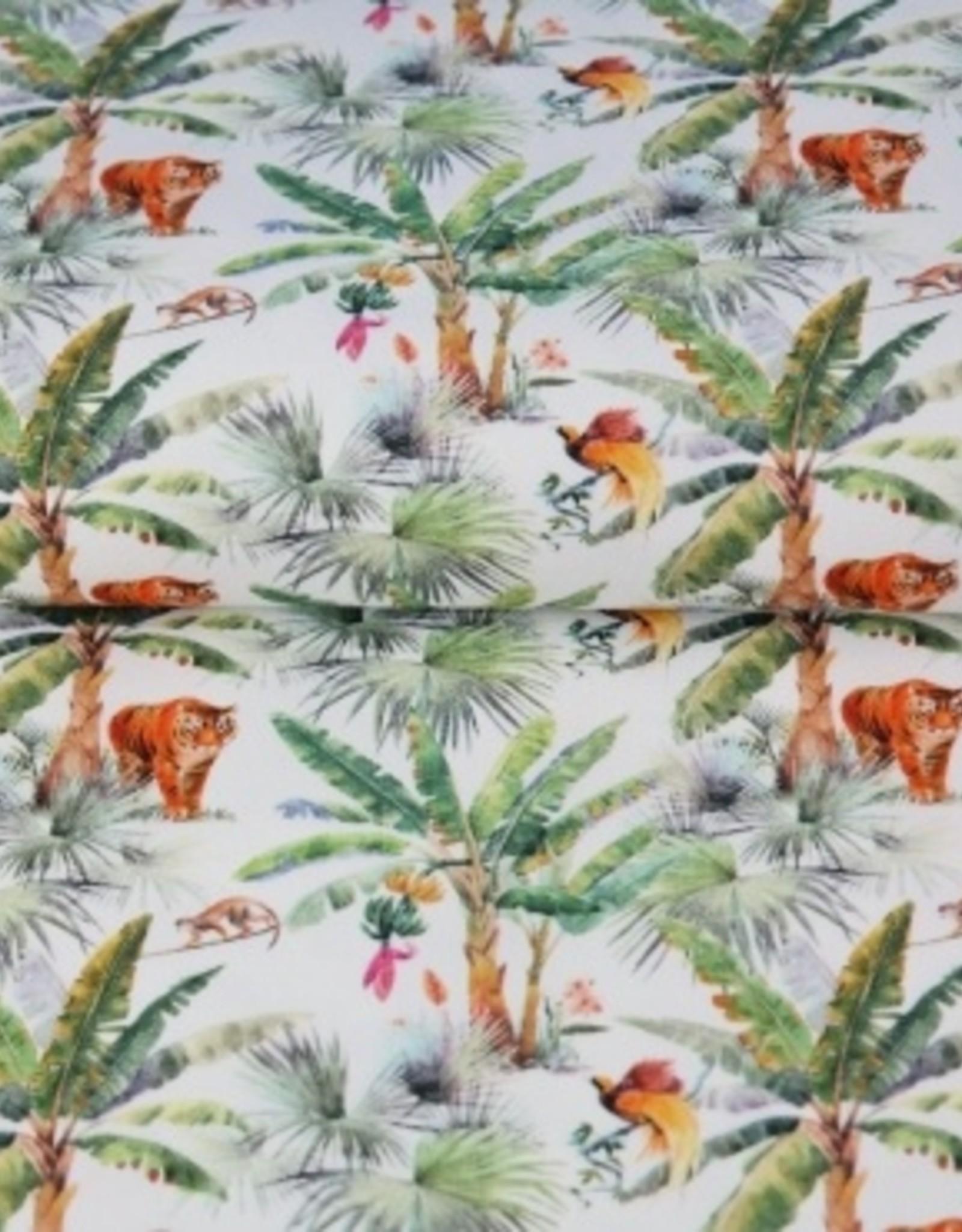 Stenzo Digital tricot met tropische print palmbomen en tijgers