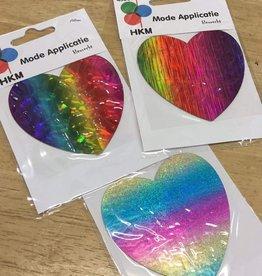 HKM Applicatie multicolor (rainbow) hart  8cm - assortiment kleur