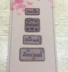 Label in kunstleder cognac handmade (4 verschillende grootte labels)