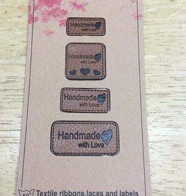 Label in kunstleder cognac handmade with love (4 verschillende grootte labels)
