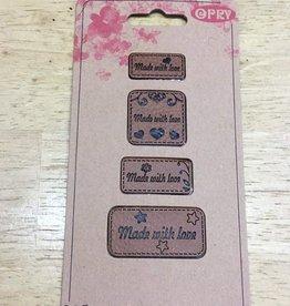 Label in kunstleder cognac made with love (4 verschillende grootte labels)