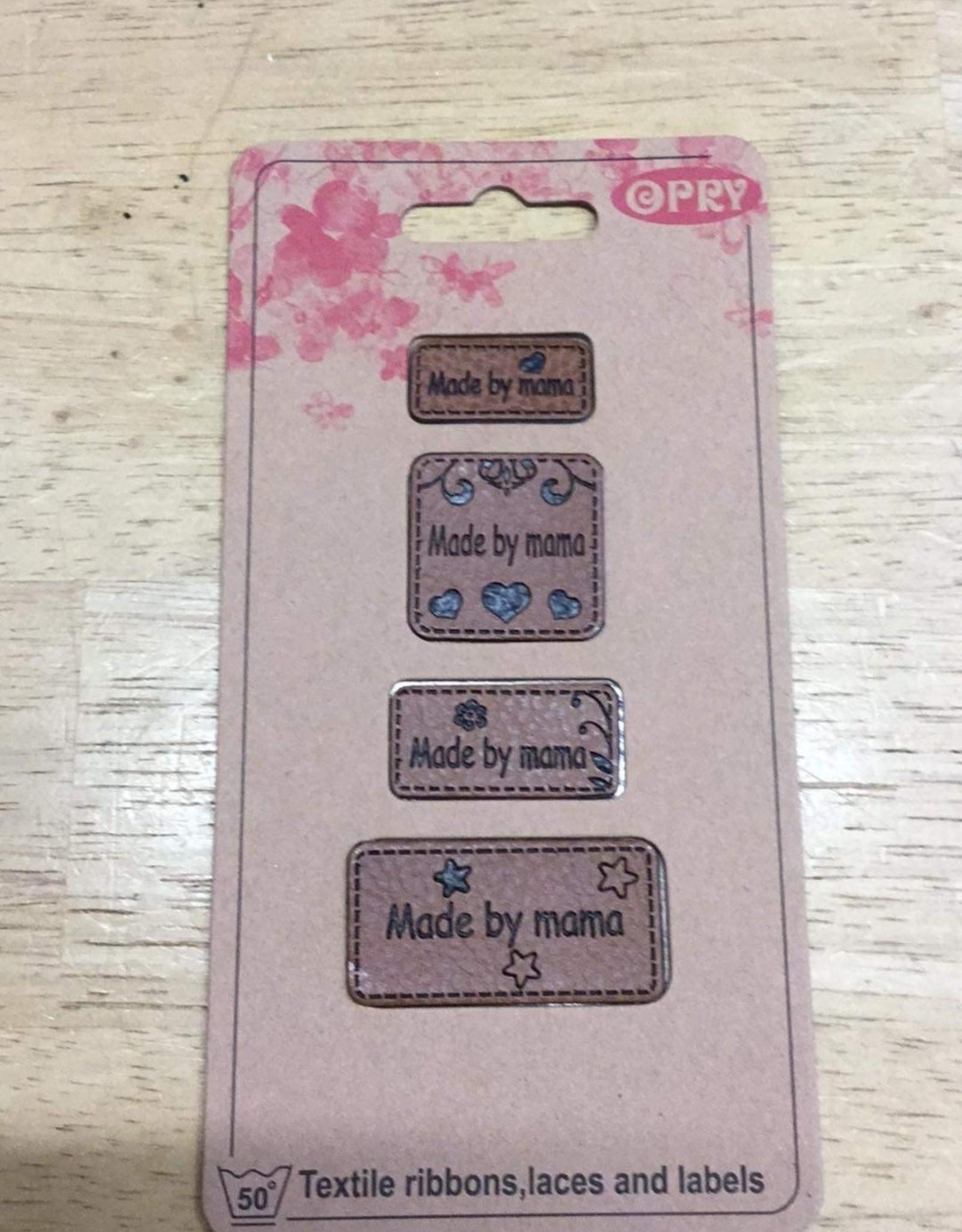 Label in kunstleder cognac made by mama (4 verschillende grootte labels)