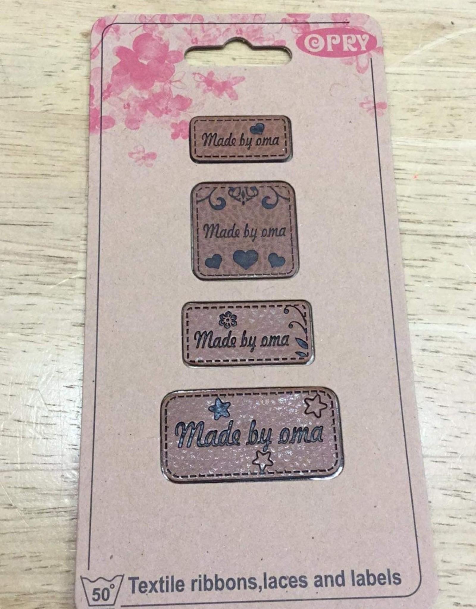 Label in kunstleder cognac made by oma (4 verschillende grootte labels)
