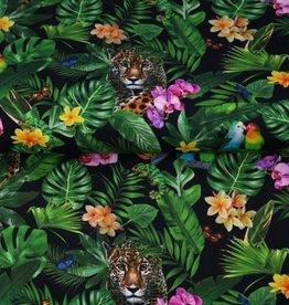 Stenzo Digital tricot tropical met papegaaien en luipaarden