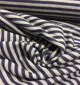 Stevig tricot gestreept jeans/grijs