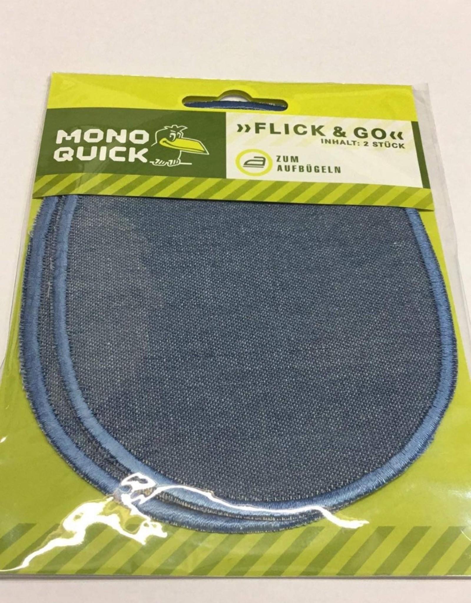 Applicatie patch knie/ellebooglappen jeans lichtblauw