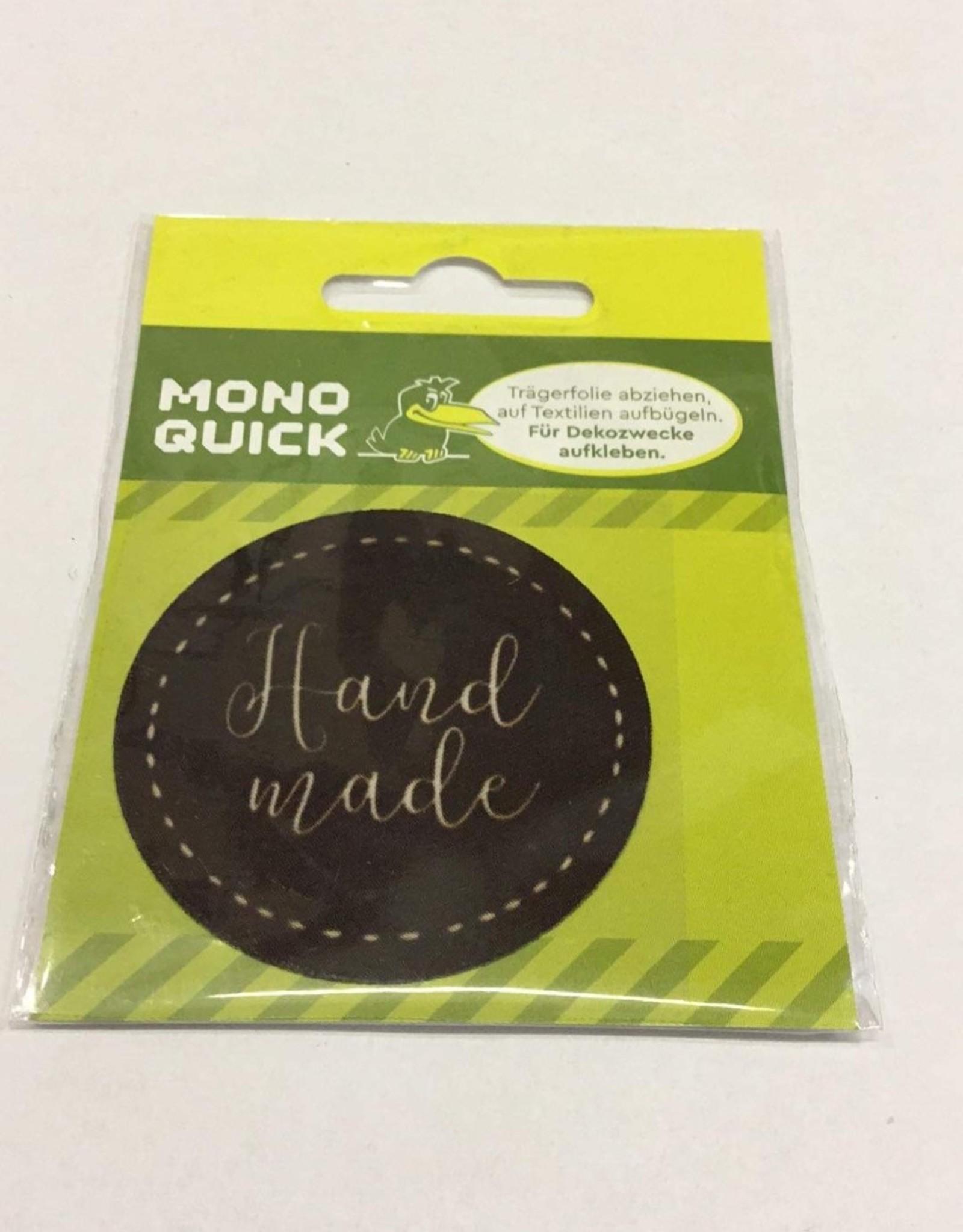 Applicatie label handmade rond 5cm