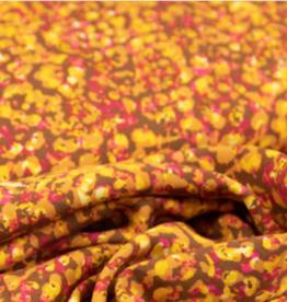 Viscose met digitale print gevlekt camel/fuchsia