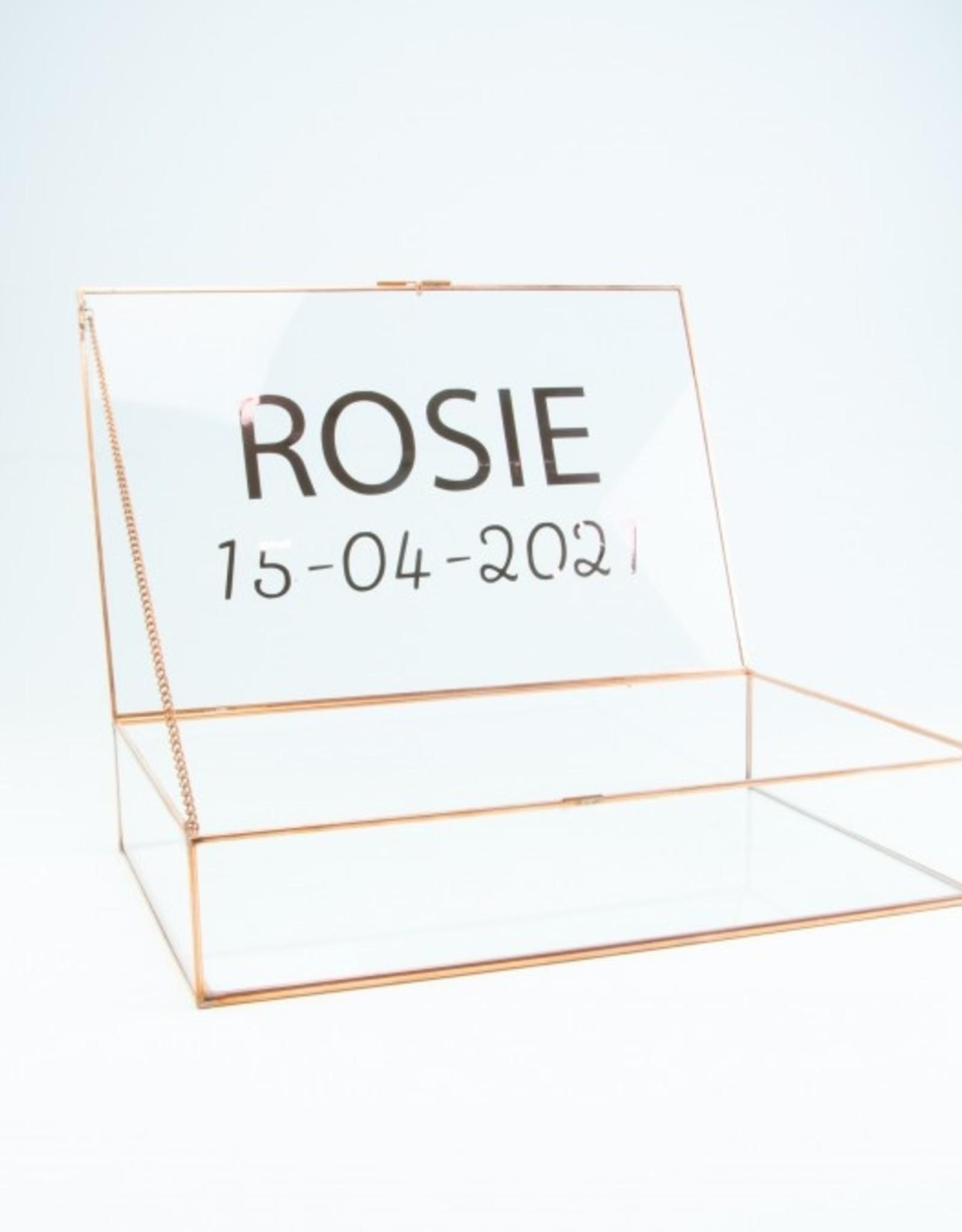 Giftbox rechthoek glas large 32cm x 21 cm x 6.5 cm roségoud