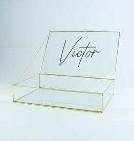 Giftbox rechthoek glas large 32cm x 21 cm x 6.5 cm goud