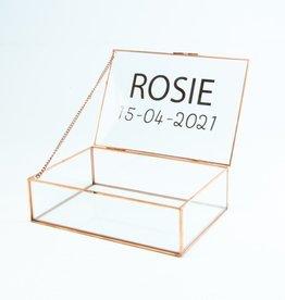 Giftbox rechthoek glas smal 22cm x 15cm x 6.5 cm roségoud