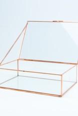 Giftbox rechthoek glas large 22cm x 15cm x 6.5 cm roségoud