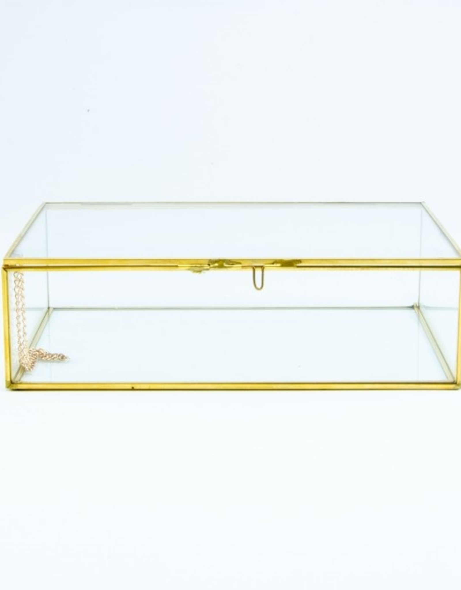 Giftbox rechthoek glas smal 22cm x 15cm x 6.5 cm goud